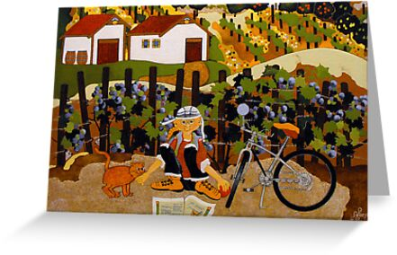 """At The Winery"" Greeting Card by Dawn Peterson"