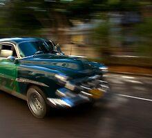 Panning shot, classic American car, Havana, Cuba by buttonpresser