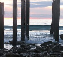 closer jetty ruins.... at sunset in winter  by PaulaBoreham
