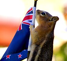 JASPER WITH THE FLAG OF NEW ZEALAND #2 by Betsy  Seeton