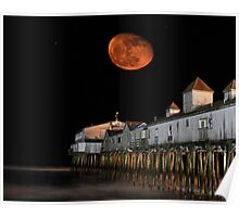 Moon over the Pier Poster