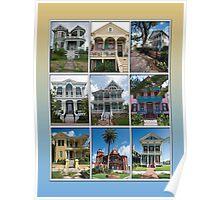 Victorian Homes of Galveston Island Poster