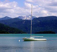 Lake, Boat and Mountain by Daidalos