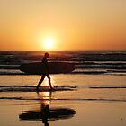 Surfing at sunset by daintyriches