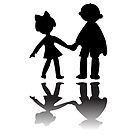 Boy and girl silhouettes by robertosch