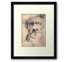'The Old Man' rendered drawing on paper with stamp. Framed Print