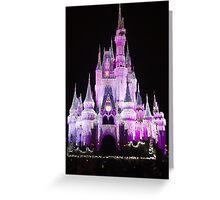 Cinderella Castle at night in Magic Kingdom, Florida Greeting Card