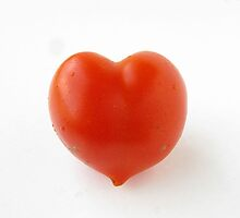 Grown with Love 1 - photograph of a heart-shaped tomato. by Jenny Hoople