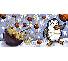 penguin and spaghetti  Photographic Print