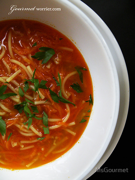 Spicy Moroccan Carrot Soup + Vermicelli Noodles by MsGourmet