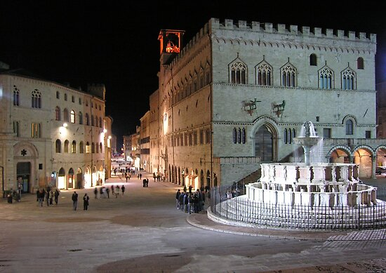 The evening passeggiata along the Corso Vannucci as seen from the Piazza Quattro Novembre, Perugia, Italy by Philip Mitchell