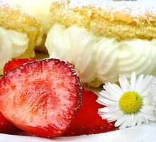 Lemon Cream Biscuit with Strawberries and Daisy by SmoothBreeze7
