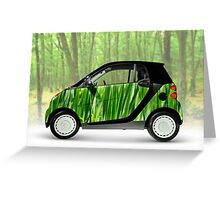 Green Mini Car Smart Fortwo in the Nature Greeting Card