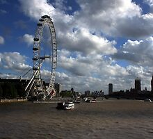 View from the Golden Jubilee Bridge London UK by larry flewers
