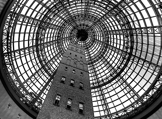 Open Star Bay Doors - Coops Shot Tower Angle 5,(Monochrome)  Melbourne by Philip Johnson