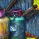 Gas Bottles - Romsey Farm Shed by MIchelle Thompson