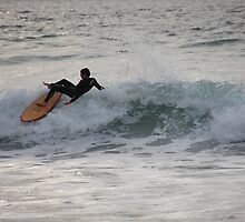 Northcott Beach Cornwall Surfer  by Ian Nicholson