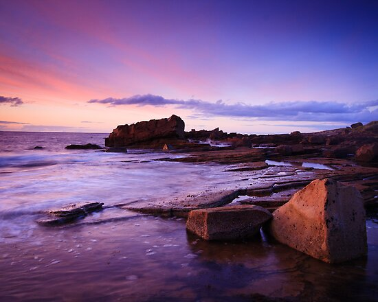Hopeman Rocks at Dusk by Christopher Thomson