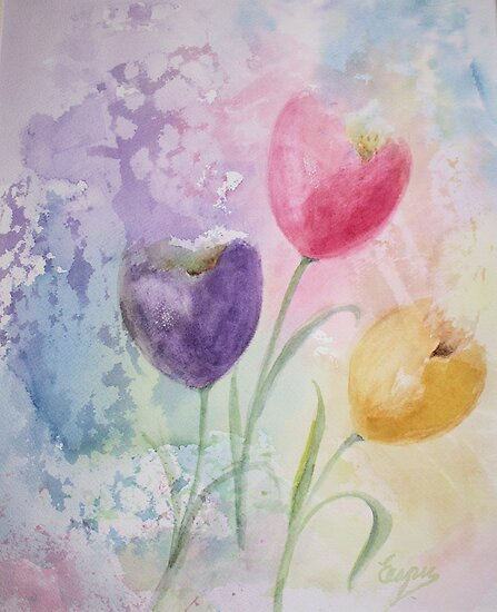 Some Tulips - Watercolor Painting by Esperanza Gallego