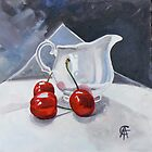 Cherries and Little White Jug by CatSalter