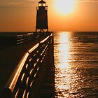 Fiery Waters -- Charlevoix Lighthouse, Michigan by John Carpenter