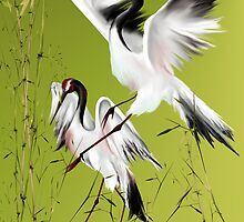 Two Cranes In Bamboo by Lotacats