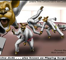 Bovine Judo AKA Flipping Burgers by Londons Times Cartoons by Rick  London