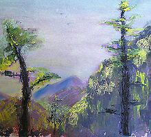 Palm Springs Trees (Mixed media view from the mountain)  by Niki Hilsabeck