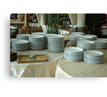 stack of white plates Canvas Print