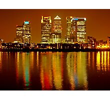 London Skyline Colors - Canary Wharf, north Greenwich Photographic Print