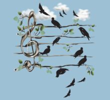 Musical Note Birds - black by Lotacats