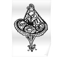 Party Girl - Black and White Poster