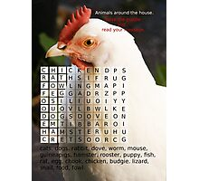 Animals around the house. Word Search Puzzle with a message. Photographic Print