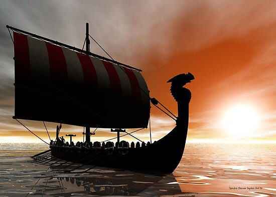 Viking Sunset by Sandra Bauser Digital Art