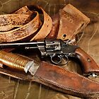 Revolver, Hunting Knife and Leather by opticalreflex