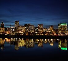 The Waterfront After Dark Portland, Oregon by Don Siebel