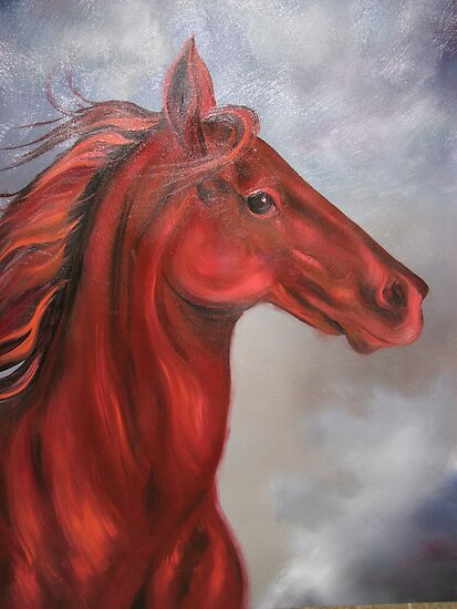 War - Red Horse of Apocalypse by JeffeeArt4u