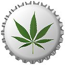 Cannabis leaf on bottle cap by robertosch