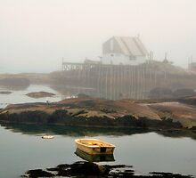 Boat, House, Fog, Stonington, Maine by fauselr