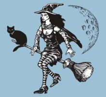 Witch on a broom by Paul Fleet