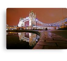Reflections of Tower Bridge - London Night Canvas Print