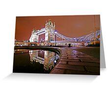 Reflections of Tower Bridge - London Night Greeting Card