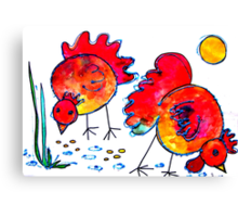 Chickens for children up to 80 years and older... Canvas Print