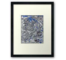 Black & Blue Mirror Framed Print