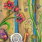 Garden Fence Whimsical drawing by Vicki Bower
