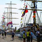 Along the Docks - Antwerp -Tall Ships Race 2010 by Gilberte