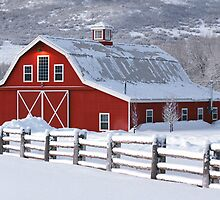 Winter Barn Panorama by David Kocherhans
