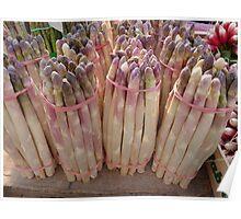White Asparagus at Market in France Poster
