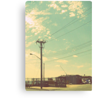 Telephone poles and the beautiful summer sky. Canvas Print