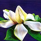Gardenia 12&quot; x 9&quot; Oil Pastel &amp; Colored Pencil Painting with Blue Violet Background - &quot;Tranquility&quot; by Laura Bell